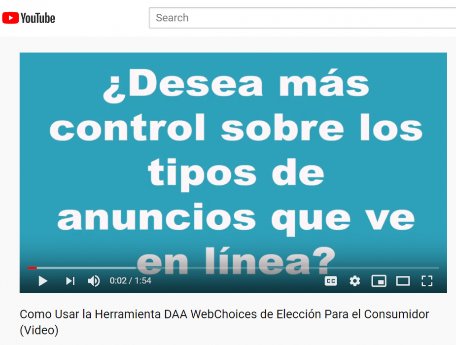 Screenshot Image from Spanish-language Self-Help Video for Users on how to Use WebChoices, AppChoices Choice Tools