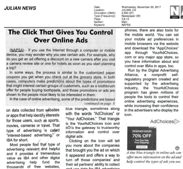 Sample News Clipping in English - Describing What's Behind the YourAdChoices Icon