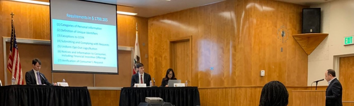 Photo of DAA Exec Director Lou Mastria Providing Public Statement at CaCPA Rulemaking Hearing